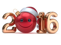 Happy 2016 New Year's Eve calendar date Smiley face banner. Happy 2016 New Year's Eve calendar date Smiley face emoticon bauble Christmas ball cartoon decoration Royalty Free Stock Photo