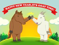 Happy new year,It's goat time sunshine Stock Images