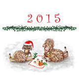 Happy New Year 2015!. New Year's raster illustration with two cheerful sheep stock illustration