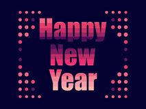 Happy new year in 80`s retro style. Text in the futuristic style, neon. Vector Royalty Free Stock Image