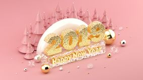 2019 Happy New Year`s Wish isometric 3D installation for New Year`s and Christmas banners and posters. Millennial pink colored isometric 3D installation with royalty free illustration