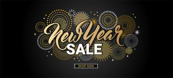 Happy New Year sale banner. vector illustration with Fireworks black Background. Vector Holiday Design for Premium. Happy New Year sale banner. illustration with royalty free illustration