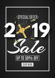 Happy new year sale 2019. Black gift box with a gold ribbon and bow on a black background. Golden confetti with serpentine. Callig. Raphy and lettering. Flyer stock illustration