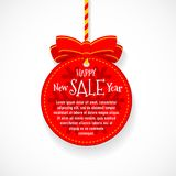 Happy New Year sale festive ball badge with red bow. Knot and braided string. Flat colors style with no gradients. Shadow can be apply at any color background Royalty Free Stock Image