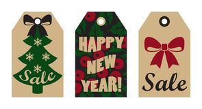 Happy New Year Sale Tags Mistletoe and Tree Bow. Happy New Year sale tags set with red bow, mistletoe berries on background and Christmas tree decorated with Vector Illustration