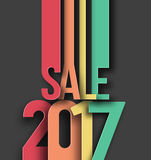 Happy new year 2017 Sale Text Design Royalty Free Stock Photography