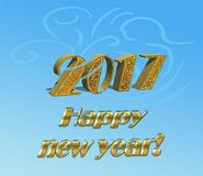Happy new year 2017 sample. Gold inscription: Happy New Year! and 3D Date 2017 on a blue background Stock Images