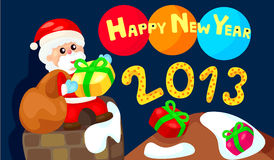 Happy new year with santa. Illustration of happy new year with santa Stock Image