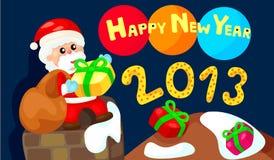 Happy new year with santa. Illustration of happy new year with santa Royalty Free Illustration
