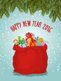 Happy new year. Santa big bag full of presents. Childrens toys a. Nd festive box. FIR branches and snowfall. Fabulous red bag with gifts. Illustration for Royalty Free Stock Photo