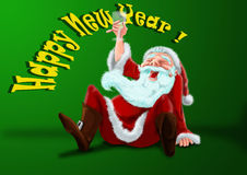 Happy New Year. Santa celebrates new year with champagne Royalty Free Stock Photos