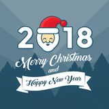 Merry Christmas and Happy New Year 2018 year with ribbon and santa holiday background. Christmas decoration element. Happy New Year 2018 and santa character stock illustration