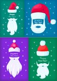 Happy New Year Santa Claus Caps and White Beards. Happy New Year poster of Santa Claus caps, white moustaches and beards on blue, violet, green backgrounds with Stock Images