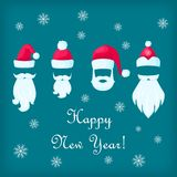 Happy New Year Santa Claus Caps and White Beards. Happy New Year poster of Santa Claus caps, white moustaches and beards on blue background with snowflakes Royalty Free Stock Photography
