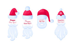 Happy New Year Santa Claus Caps and White Beards. Royalty Free Stock Photography