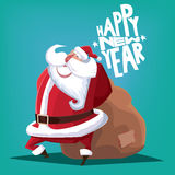 Happy New Year Santa Claus with gift bag. Greeting card Happy New Year blue Santa Claus with gift bag Stock Photo