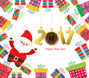 Happy new year 2017 Santa claus with gifts.  Stock Photo