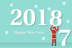 Happy New Year 2018. Santa Claus. Holds number 8 in hands. Beginning of new year. Text congratulations, greetings. Isolated on background. Vector illustration Royalty Free Stock Photography