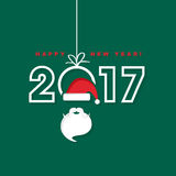 Happy New Year 2017 with Santa Claus hat and beard. Sample Royalty Free Stock Photos