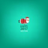 Happy New Year, Santa Claus. Minimalist style. 2017. Happy New Year, Santa Claus. Minimalist style 2017 Royalty Free Stock Photos