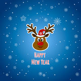 Happy New Year. Santa Claus`s reindeer. Royalty Free Stock Image