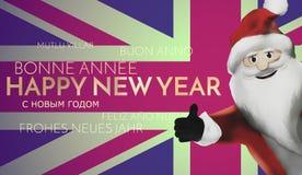 Happy new year santa claus united kingdom flag 3d render Royalty Free Stock Photo