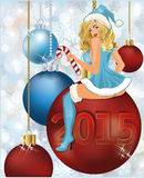 Happy New 2015 year Santa girl Royalty Free Stock Photo