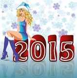 Happy 2015 new year santa girl. Vector illustration Royalty Free Stock Photography