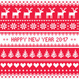 Happy New Year 2017 - Scandinavian red embroidery pattern. Red and white greeting card for celebrating New Years - Nordic style Stock Photos
