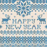 Happy New Year: Scandinavian or russian style knitted embroidery Royalty Free Stock Photo