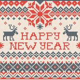 Happy New Year: Scandinavian or russian style knitted embroidery Stock Photo