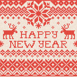 Happy New Year: Scandinavian or russian style knitted embroidery Stock Image
