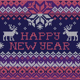Happy New Year: Scandinavian style seamless knitted pattern Stock Photo