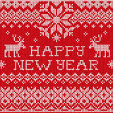 Happy New Year: Scandinavian style seamless knitted pattern with Royalty Free Stock Image