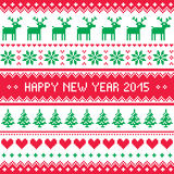 Happy New Year 2015 - Scandinavian winter embroidery pattern Royalty Free Stock Images