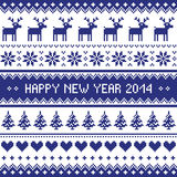 Happy New Year 2014 - scandynavian christmas pattern. Navy blue background for celebrating New Years - nordic kntting style stock illustration