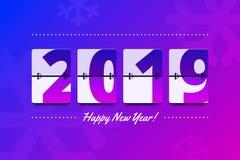 Happy New Year 2019 scoreboard vector illustration for advert. Happy New Year 2019 scoreboard vector illustration. Mechanical clock on digits board panel in vector illustration
