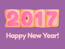 Happy New Year 2017 scoreboard vector illustration. Design for greeting card, poster or web pages for celebrating Vector Illustration