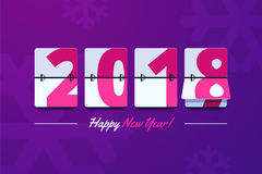 Happy new year 2018. Scoreboard vector illustration. Mechanical clock on digits board panel in flat style. Design for greeting card, poster or web pages for vector illustration