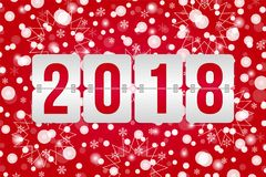 2018 Happy New Year scoreboard vector illustration.Red white decorative Christmas background with snowflakes, sparkles, lights. 2018 Happy New Year scoreboard royalty free illustration
