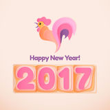 Happy New Year 2017 scoreboard vector illustration. Happy New Year 2017 scoreboard vector illustration with style rooster. Design for greeting card, poster or Stock Illustration
