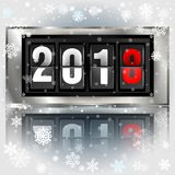 Happy New Year 2018 scoreboard vector realistic illustration. Mechanical clock design for greeting card. Poster or web pages for celebrating 2018 year Vector Illustration