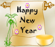 Happy New Year. On a scroll with palm tree and flowers stock illustration