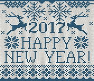 Happy New Year 2017 seamless pattern. Happy New Year 2017 seamless blue pattern. Scandinavian style knitted seamless pattern with deer and snowflakes. Sweater Stock Images