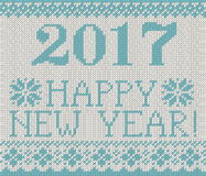 Happy New Year 2017 seamless pattern. Happy New Year 2017 seamless blue pattern. Scandinavian style knitted seamless pattern with deer and snowflakes. Sweater Stock Photo