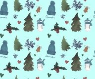 Happy New Year Seamless Pattern, Christmas Winter theme, Beautiful Watercolor background royalty free illustration