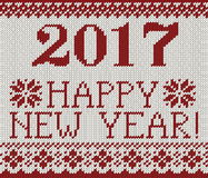 Happy New Year 2017 seamless pattern. Happy New Year 2017 seamless red pattern. Scandinavian style knitted seamless pattern with deer and snowflakes. Sweater Stock Photo