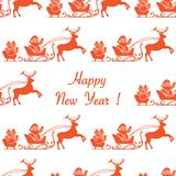 Happy New Year 2019 seamless pattern. Santa Claus. Happy New Year 2019 seamless pattern. Vector illustration Santa Claus with gifts in sleighs with reindeers vector illustration