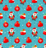 Happy New Year seamless pattern with Santa  Stock Image