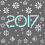 2017. Happy New Year. Seamless pattern. Snowflakes greeting card. Background for winter and christmas theme. Vector illustration. Snowing background Royalty Free Stock Photos